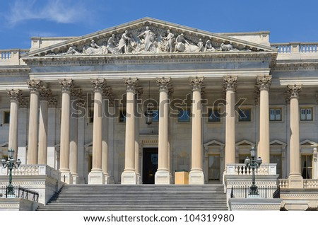 Washington DC - US Capitol Building East facade detail - stock photo