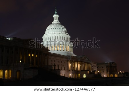 Washington DC, US Capitol building east facade in winter - Night shot