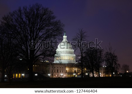 Washington DC, US Capitol building east facade in winter - Night shot - stock photo