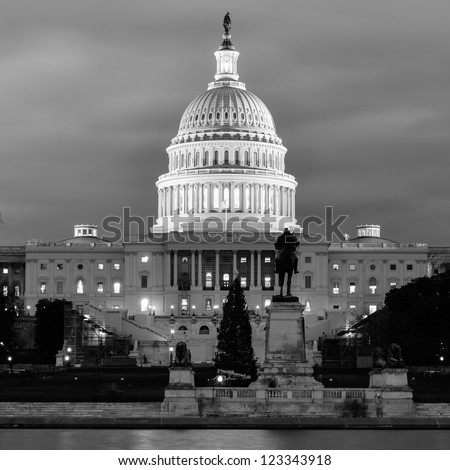 Washington DC, US Capitol Building in a cloudy day - Black and White - stock photo