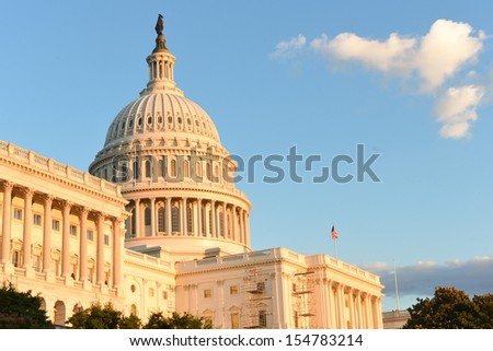 Washington DC, US Capitol Building in a cloudy day -United States  - stock photo