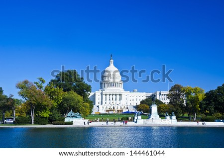Washington DC, US Capitol Building in a sunny day - stock photo