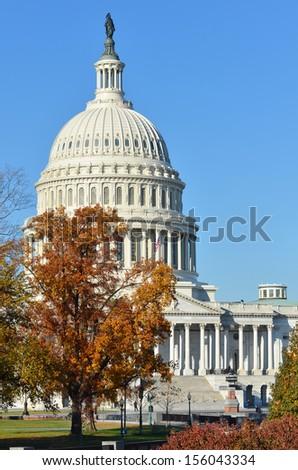 Washington DC, US Capitol Building in Autumn - stock photo