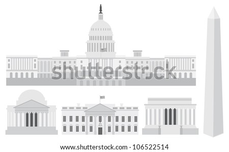 Washington DC US Capitol Building Monument Jefferson and Lincoln Memorial Raster Vector Illustration - stock photo