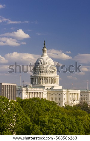WASHINGTON, DC, USA - APRIL 27, 2005: United States Capitol dome.