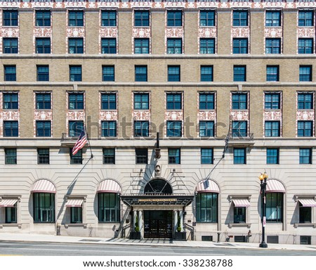 WASHINGTON DC, USA - CIRCA AUGUST 2015: Facade of the W Washington D.C. hotel. This is a beaux arts building from 1917. - stock photo