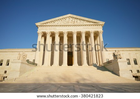 Washington DC, USA - Feb. 20th, 2016: A sunny weekend afternoon of the Supreme Court, Capitol Hill Washington DC
