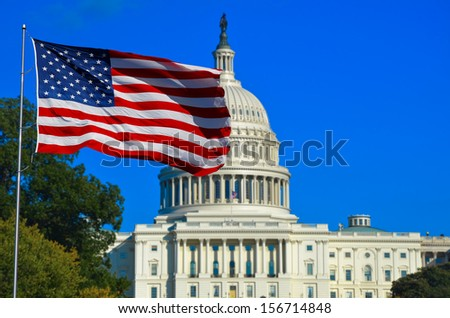 Washington DC, USA Flag and Capitol Building  - stock photo