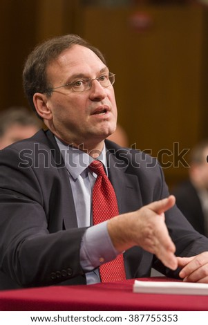 WASHINGTON, DC, USA - JANUARY 6, 2010: Judge Samuel A. Alito Jr., U.S. Supreme Court nominee, during confirmation hearings before the Senate Judiciary Committee.
