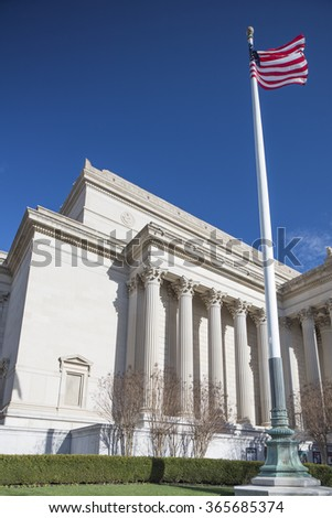 Washington DC, USA - January 10, 2016: The National Archives and Records Administration (NARA) is an independent agency of the United States government. - stock photo