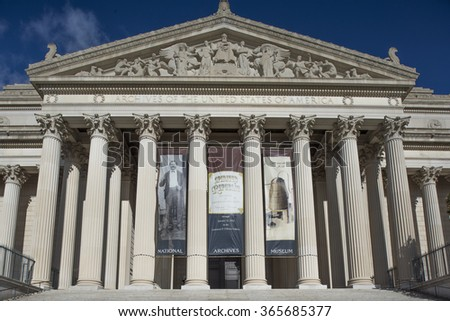 Washington DC, USA - January 10, 2016: The National Archives and Records Administration (NARA) is an independent agency of the United States government.