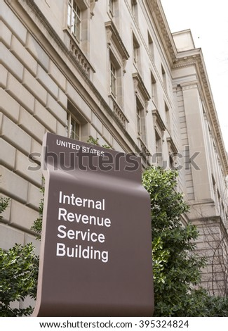 WASHINGTON, DC, USA - MARCH 23, 2006: IRS building sign. Internal Revenue Service. - stock photo