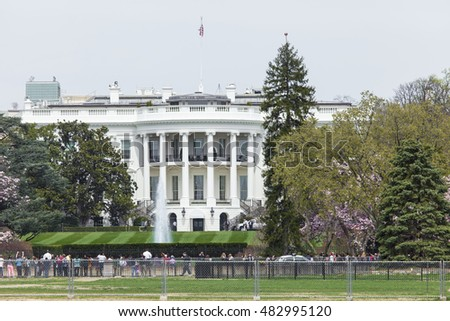Washington DC - USA - MARCH 12, 2016:The White House on a beautiful summer day, Washington, DC.