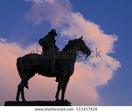 WASHINGTON, DC, USA - MAY 2, 2005: Statue of General Ulysses S. Grant on horseback, on Capitol Hill at sunset.