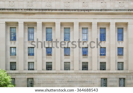 WASHINGTON DC, USA - MAY 2, 2015: The Robert F. Kennedy Department of Justice Building in Washington DC. Headquarters of the United States Department of Justice.