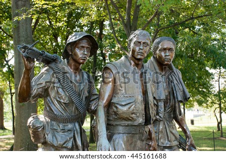 WASHINGTON DC. USA - NOVEMBER 1, 2009: The Three Soldiers - Vietnam Veteran's Memorial in Washington DC