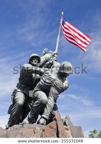 WASHINGTON DC, USA - OCTOBER 20, 2014: Iwo Jima statue in Washington DC. The statue honors the Marines who have died defending the United States since 1775. - stock photo