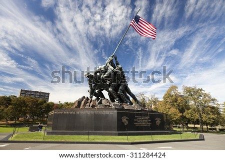 WASHINGTON DC, USA - OCTOBER 20, 2014: Iwo Jima statue in Washington DC. The statue honors the Marines who have died defending the United States since 1775.