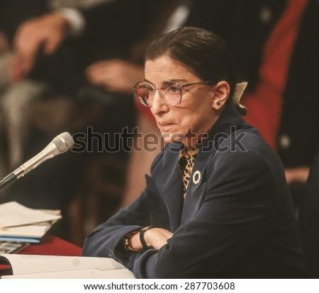 WASHINGTON, DC, USA - Ruth Bader Ginsburg, during confirmation hearings, U. S. Supreme Court. 7/21/1993 - stock photo