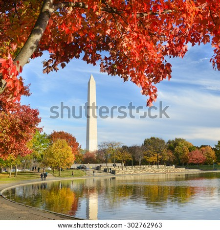 Washington DC - Washington Monument from Constitution Gardens in Autumn