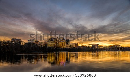 Washington - December 16: The skyline of Rosslyn - Virginia viewed from the Georgetown Harbor during sunset on December 16, 2015.