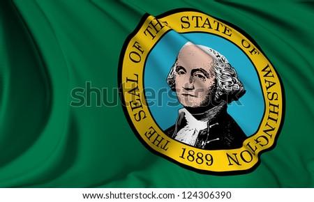 Washington flag - USA state flags collection no_3 - stock photo