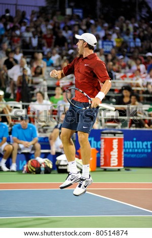 WASHINGTON - JULY 5: Bobby Reynolds defeats Alex Kuznetsov in singles action as the Washington Kastles win over the Kansas City Explorers in their season opener on July 5, 2011 in Washington