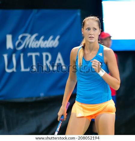 WASHINGTON- JULY 29: Bojana Jovanovski (SRB) defeats Olivia Rogowska (AUS, not pictured) during the Citi Open tennis tournament on July 29, 2014 in Washington DC - stock photo