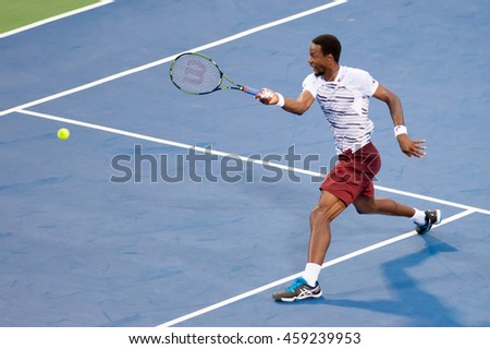 WASHINGTON JULY 22:  Gael Monfils (FRA) defeats Sam Querrey (USA, not pictured) at the Citi Open tennis tournament on July 22, 2016 in Washington DC.