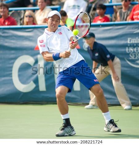 WASHINGTON -  JULY 30: Kei Nishikori (JPN) defeats Sam Querrey (USA, not pictured) at the Citi Open tennis tournament on July 30, 2014 in Washington DC - stock photo