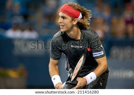 WASHINGTON  JULY 31: Lukas Lacko (SVK) loses to Kei Nishikori (JPN, not pictured) at the Citi Open tennis tournament on July 31, 2014 in Washington DC - stock photo
