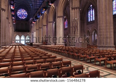 WASHINGTON - JUNE 14: Interior view of National Cathedral on June 14, 2013 in Washington. Construction of famous church began in 1907 and currently it is listed on National Register of Historic Places - stock photo