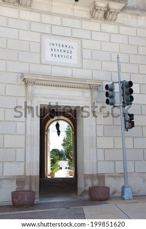 WASHINGTON - JUNE 1: Internal Revenue Service Building on June 1, 2014 in Washington, DC. - stock photo