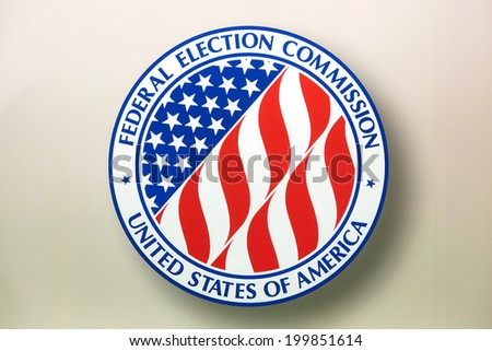 WASHINGTON - JUNE 1: Sign in the window at the Federal Election Commission on June 1, 2014 in Washington, DC. - stock photo