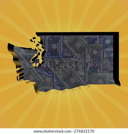 Washington map on dollars sunburst illustration - stock photo