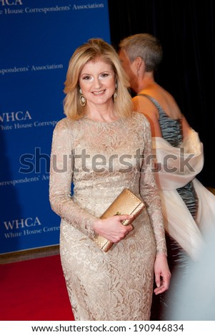 WASHINGTON MAY 3 - Ariana Huffington arrives at the White House Correspondents� Association Dinner May 3, 2014 in Washington, DC - stock photo