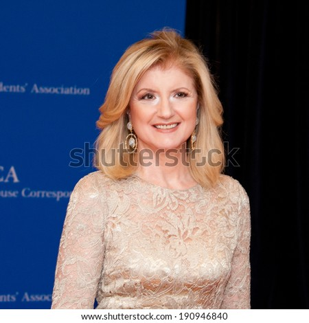 WASHINGTON MAY 3 -�� Ariana Huffington arrives at the White House Correspondents� Association Dinner May 3, 2014 in Washington, DC - stock photo
