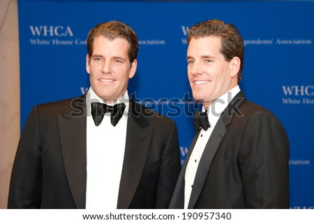 WASHINGTON MAY 3 -�� Cameron and Tyler Winklevoss arrive at the White House Correspondents� Association Dinner May 3, 2014 in Washington, DC - stock photo