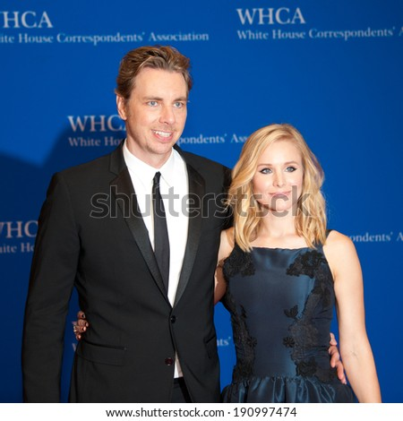 WASHINGTON MAY 3 -�� Dax Shepard and Kristen Bill arrive at the White House Correspondents� Association Dinner May 3, 2014 in Washington, DC - stock photo