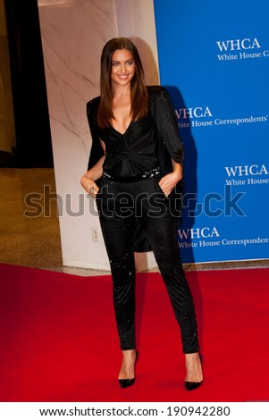 WASHINGTON MAY 3 -�� Irina Shayk arrives at the White House Correspondents� Association Dinner May 3, 2014 in Washington, DC - stock photo