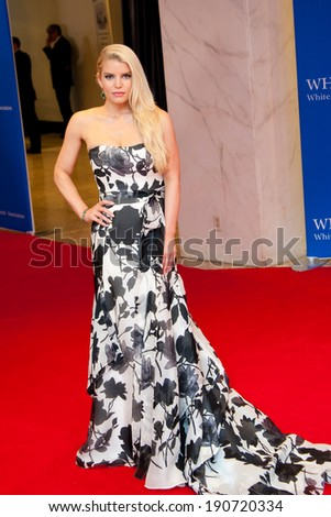 WASHINGTON MAY 3 � Jessica Simpson arrives at the White House Correspondents� Association Dinner May 3, 2014 in Washington, DC - stock photo