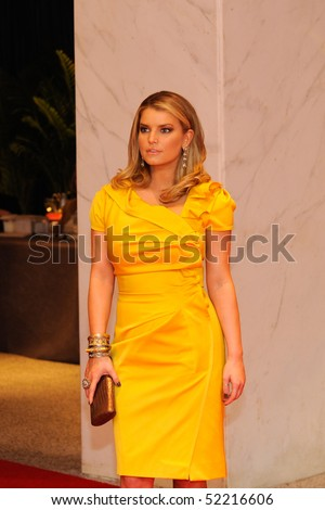 WASHINGTON MAY 1 - Jessica Simpson arrives at the White House Correspondents Association Dinner May 1, 2010 in Washington, D.C. - stock photo