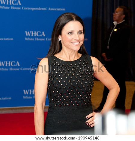 WASHINGTON MAY 3 -�� Julia Louis-Dreyfus arrives at the White House Correspondents� Association Dinner May 3, 2014 in Washington, DC - stock photo