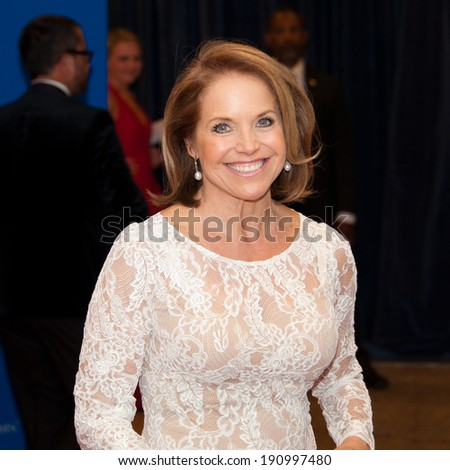 WASHINGTON MAY 3 -�� Katie Couric arrives at the White House Correspondents� Association Dinner May 3, 2014 in Washington, DC - stock photo