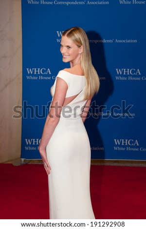 WASHINGTON MAY 3 - Model Anne V arrives at the White House Correspondents' Association Dinner May 3, 2014 in Washington, DC - stock photo