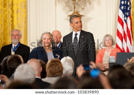 WASHINGTON - MAY 29: Novelist Toni Morrison waits to receive the Presidential Medal of Freedom at a ceremony at the White House May 29, 2012 in Washington, D.C. - stock photo
