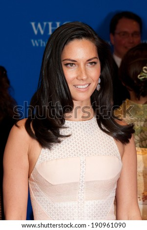 WASHINGTON MAY 3 -�� Olivia Munn arrives at the White House Correspondents� Association Dinner May 3, 2014 in Washington, DC - stock photo