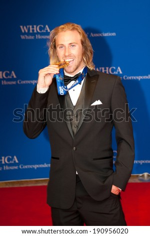 WASHINGTON MAY 3 -�� Olympic gold medalist Sage Kotsenburg arrives at the White House Correspondents� Association Dinner May 3, 2014 in Washington, DC - stock photo