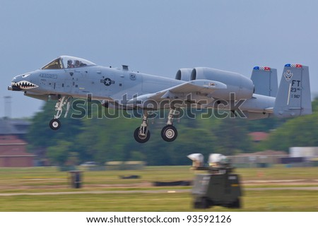 WASHINGTON - MAY 6:Presentation characteristics during the airshow of famous A-10 military jet on May 6, 2011 in Washington DC A10 is first US Air Force aircraft designed solely for close air support