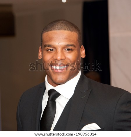 WASHINGTON MAY 3 - Quarterback Cam Newton arrives at the White House Correspondents� Association Dinner May 3, 2014 in Washington, DC - stock photo